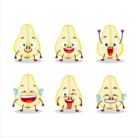 Cartoon character of slash of yellow pear with smile expression