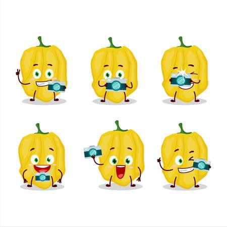 Photographer profession emoticon with yellow habanero cartoon character 矢量图像