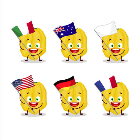 Yellow habanero cartoon character bring the flags of various countries