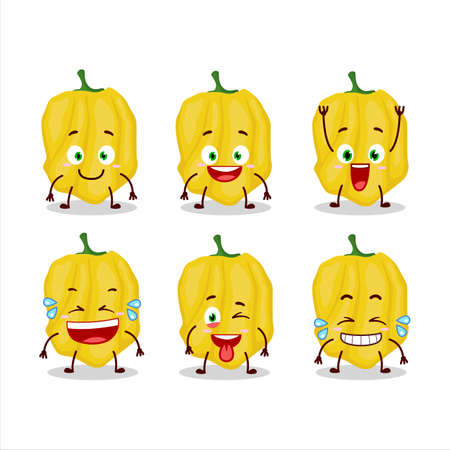 Cartoon character of yellow habanero with smile expression Ilustração