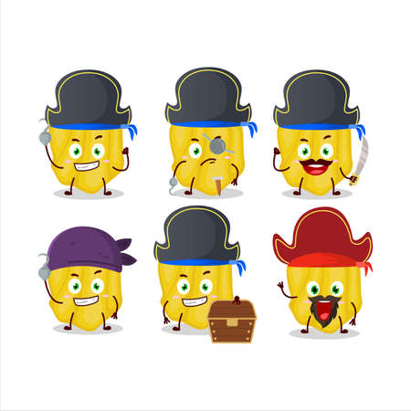 Cartoon character of yellow habanero with various pirates emoticons