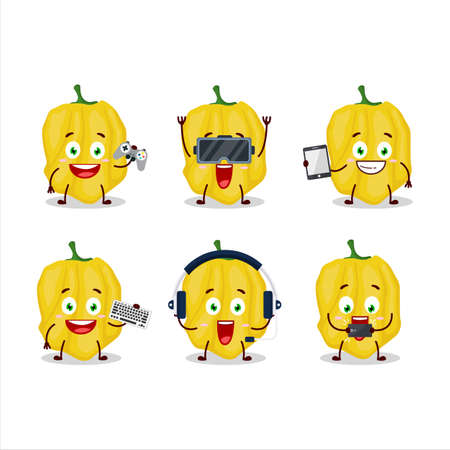 Yellow habanero cartoon character are playing games with various cute emoticons