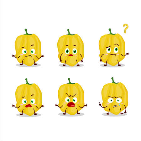 Cartoon character of yellow habanero with what expression Ilustração