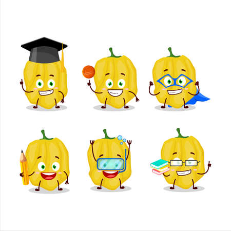 School student of yellow habanero cartoon character with various expressions