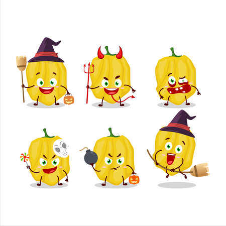 Halloween expression emoticons with cartoon character of yellow habanero