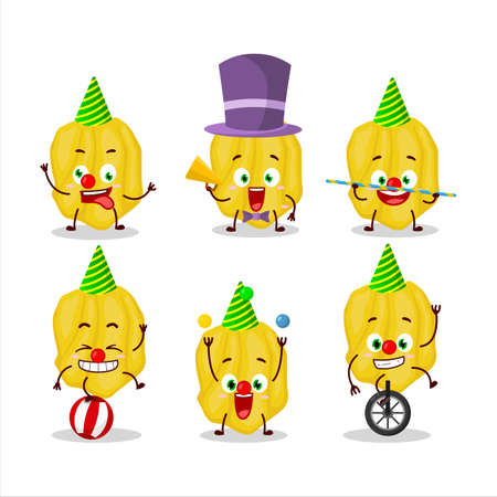 Cartoon character of yellow habanero with various circus shows Ilustração