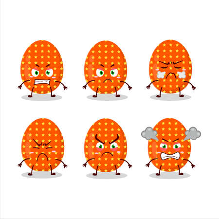 Deep orange easter egg cartoon character with various angry expressions