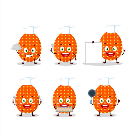 Cartoon character of deep orange easter egg with various chef emoticons
