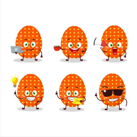 Deep orange easter egg cartoon character with various types of business emoticons