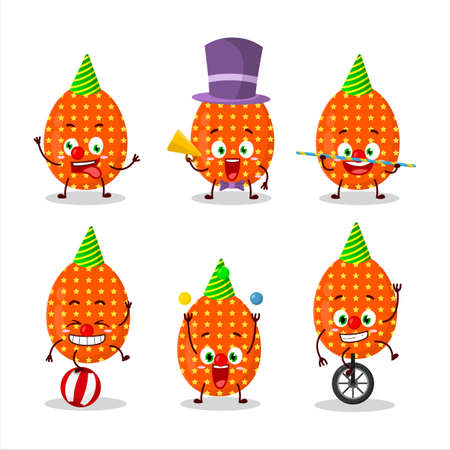 Cartoon character of deep orange easter egg with various circus shows Ilustração
