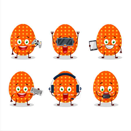Deep orange easter egg cartoon character are playing games with various cute emoticons
