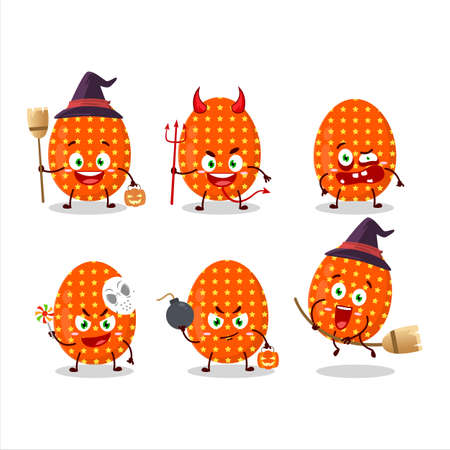 Halloween expression emoticons with cartoon character of deep orange easter egg