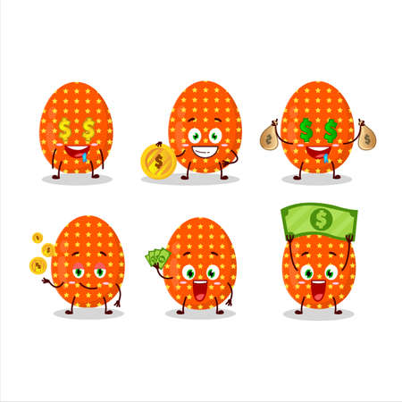 Deep orange easter egg cartoon character with cute emoticon bring money