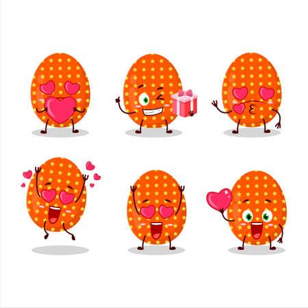 Deep orange easter egg cartoon character with love cute emoticon 矢量图像