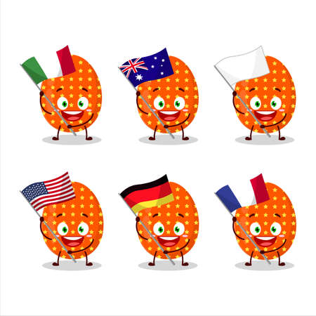 Deep orange easter egg cartoon character bring the flags of various countries