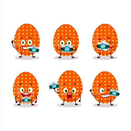 Photographer profession emoticon with deep orange easter egg cartoon character