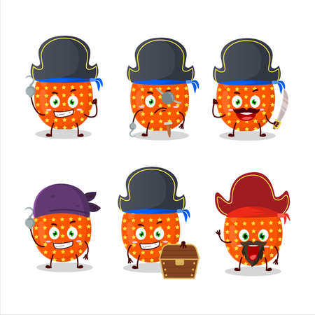 Cartoon character of deep orange easter egg with various pirates emoticons Иллюстрация