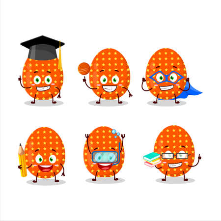 School student of deep orange easter egg cartoon character with various expressions