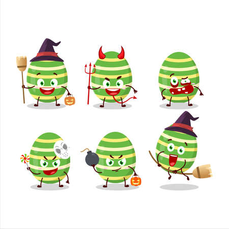 Halloween expression emoticons with cartoon character of green easter egg