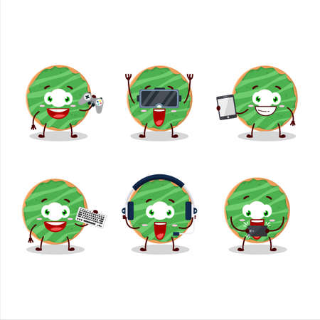 Cocopandan donut cartoon character are playing games with various cute emoticons