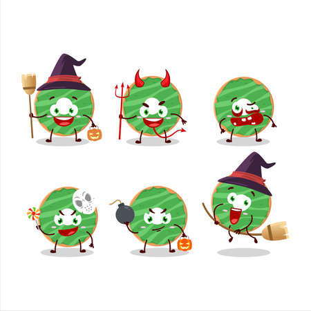 Halloween expression emoticons with cartoon character of cocopandan donut Ilustração