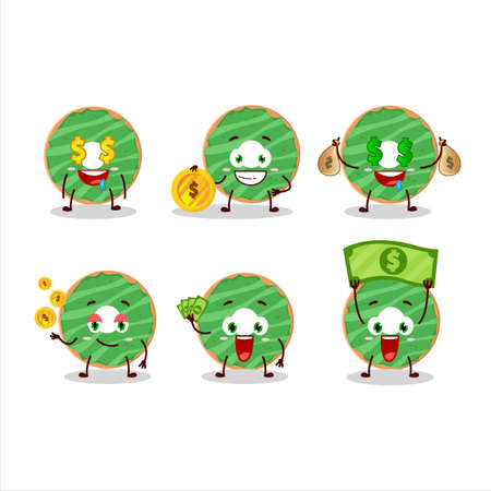 Cocopandan donut cartoon character with cute emoticon bring money