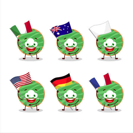 Cocopandan donut cartoon character bring the flags of various countries Ilustração