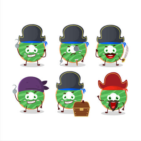 Cartoon character of cocopandan donut with various pirates emoticons