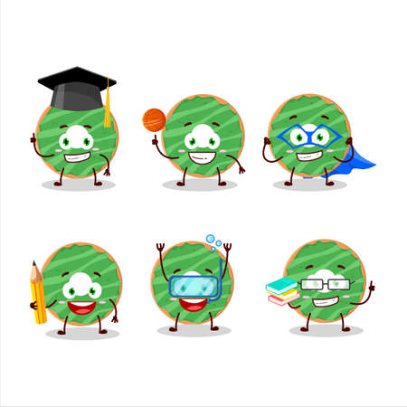 School student of cocopandan donut cartoon character with various expressions