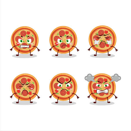 Beef pizza cartoon character with various angry expressions Ilustrace