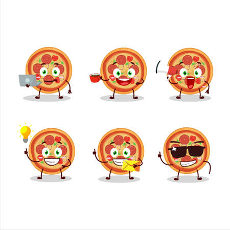 Beef pizza cartoon character with various types of business emoticons