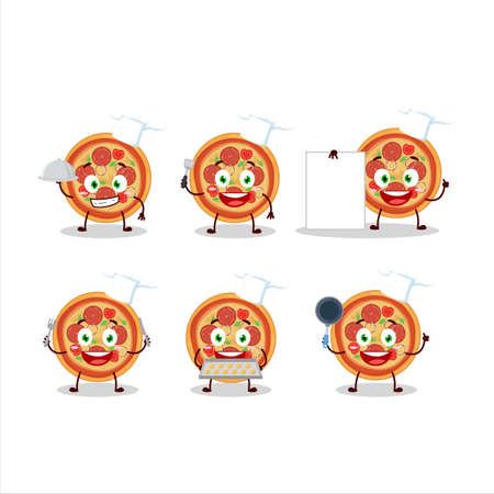 Cartoon character of beef pizza with various chef emoticons