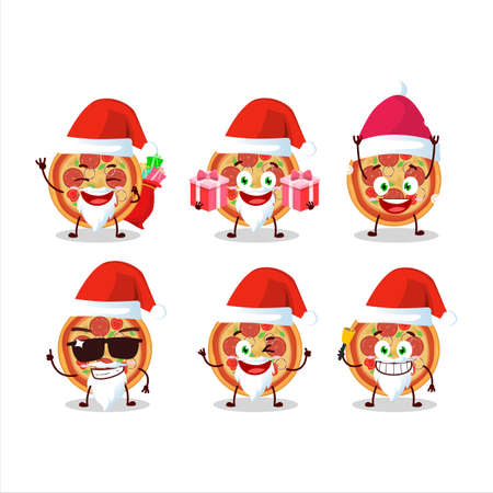 Santa Claus emoticons with beef pizza cartoon character