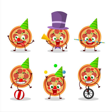 Cartoon character of beef pizza with various circus shows