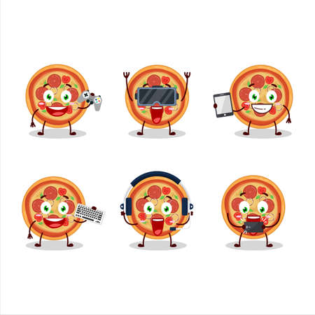 Beef pizza cartoon character are playing games with various cute emoticons Ilustrace
