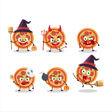 Halloween expression emoticons with cartoon character of beef pizza