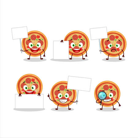 Beef pizza cartoon character bring information board Ilustrace