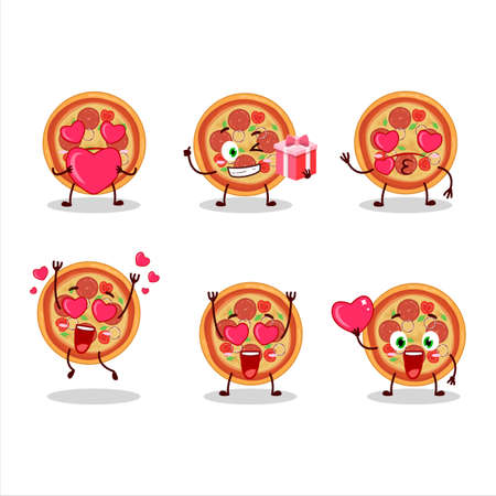 Beef pizza cartoon character with love cute emoticon
