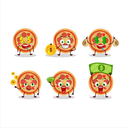 Beef pizza cartoon character with cute emoticon bring money Ilustração