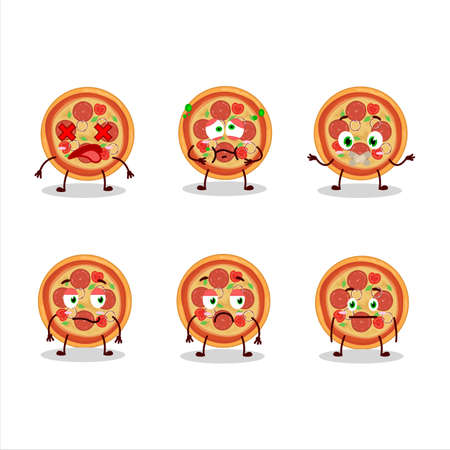 Beef pizza cartoon character with nope expression Ilustração