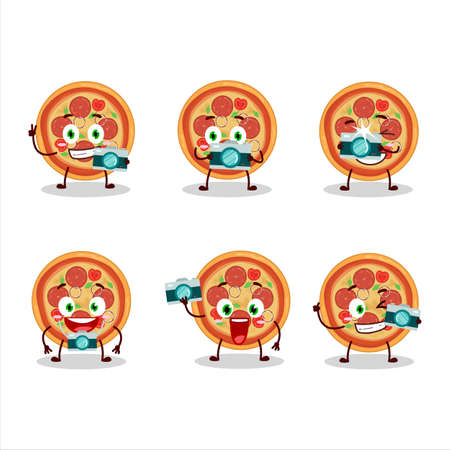 Photographer profession emoticon with beef pizza cartoon character Ilustração