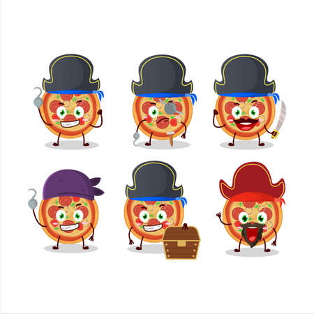 Cartoon character of beef pizza with various pirates emoticons Ilustração