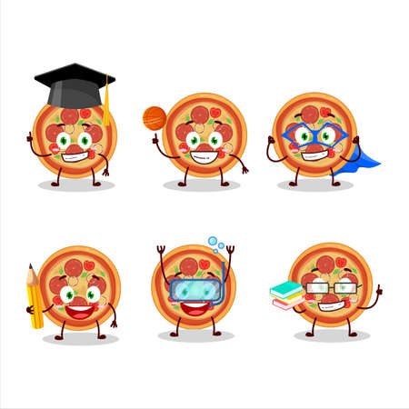 School student of beef pizza cartoon character with various expressions