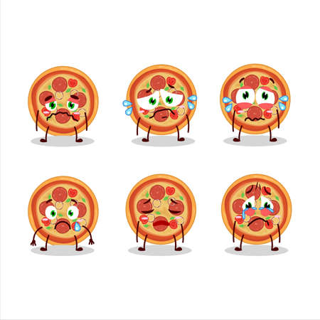Beef pizza cartoon character with sad expression