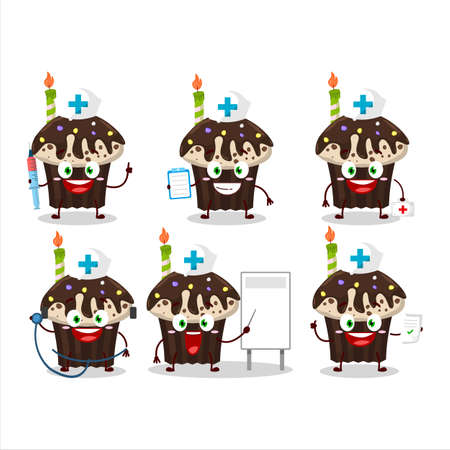 Doctor profession emoticon with birthday muffin cartoon character Illustration