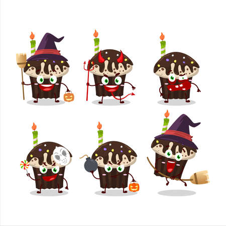 Halloween expression emoticons with cartoon character of birthday muffin