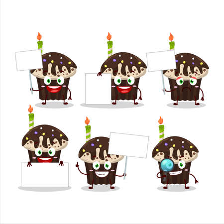 Birthday muffin cartoon character bring information board Illustration