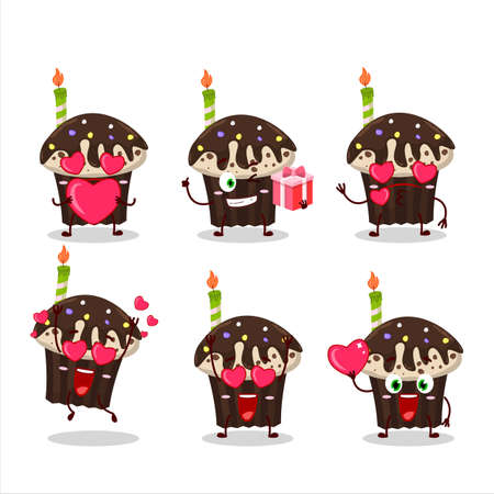 Birthday muffin cartoon character with love cute emoticon Illustration