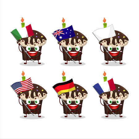 Birthday muffin cartoon character bring the flags of various countries Illustration