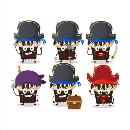 Cartoon character of birthday muffin with various pirates emoticons